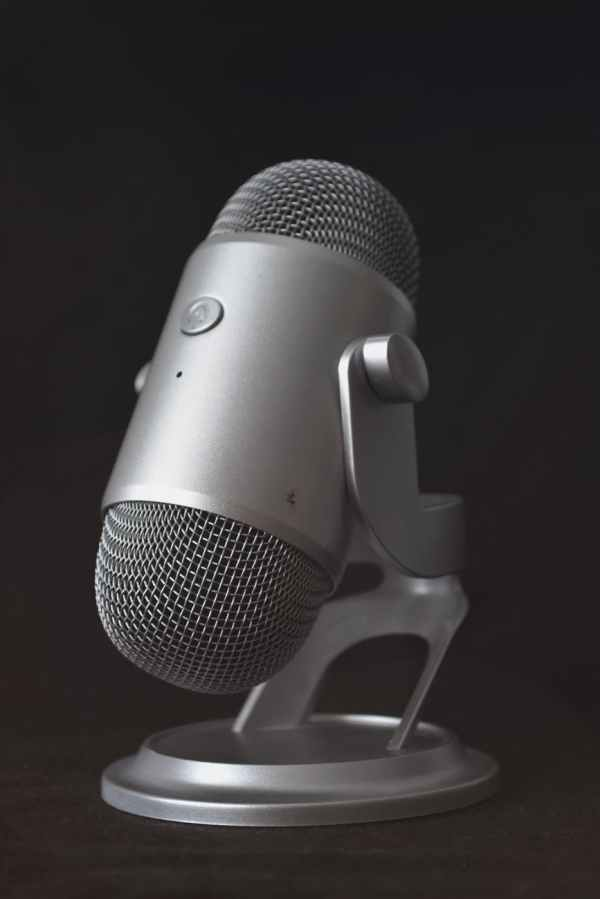silver desk microphone